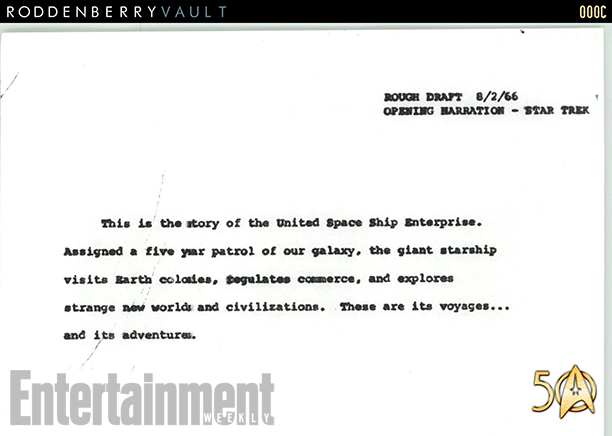 Star Trek original opening draft 1966
