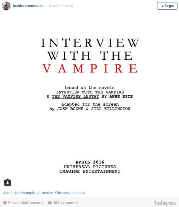 script intervista del vampiro
